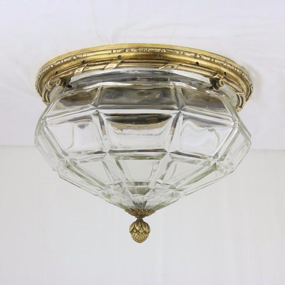 c1910 Cut Glass 15 Brass Flush Mount Ceiling Fixture Antique Finial