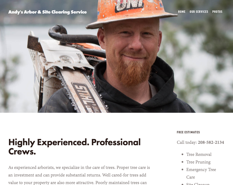 Andy's Arbor & Site Clearing Services. Highly Experiences. Professional Crews. Saint Maries, Idaho www.andyarbor.com