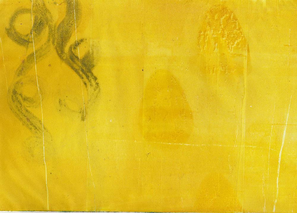 """Värien näkeminen on yksilöllistä.  Kuvassa on Hanna Holman teos """"Tyynet hunajapisarat uivat autereisella ulapalla"""". Kuvailutulkkaus tekstissä alla."""