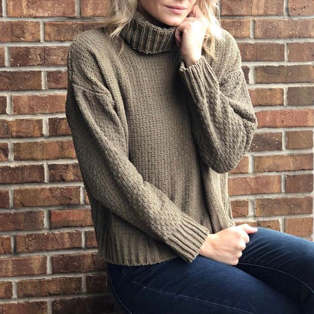 @apricotlanefayetteville knows how to do sweater weather in the Lucia Cowl Neck Sweater. #ragpoets ✨