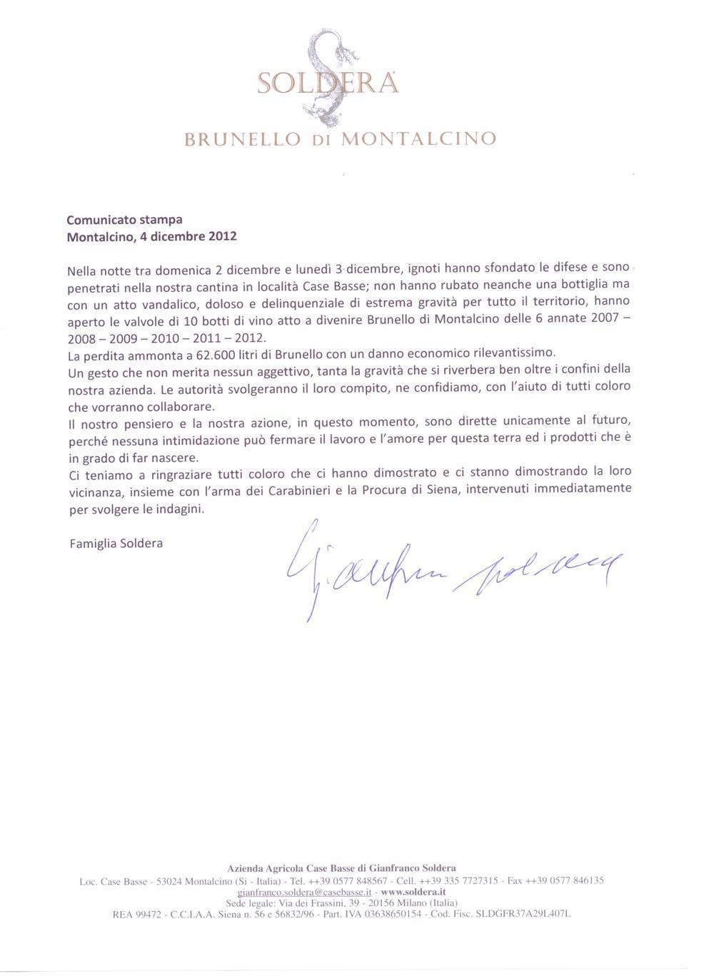 Soldera - comunicato stampa