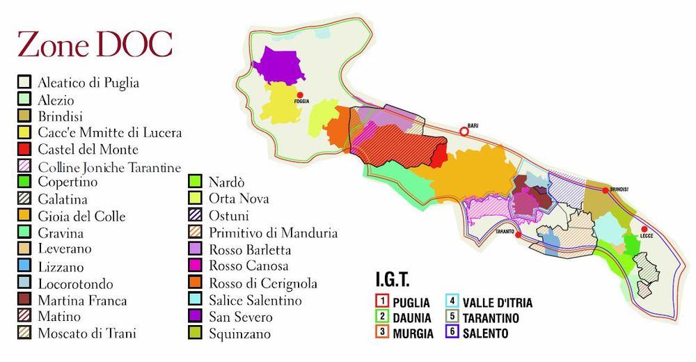 Puglia, zone vini DOC e IGT - Fonte:http://www.thepuglia.com/