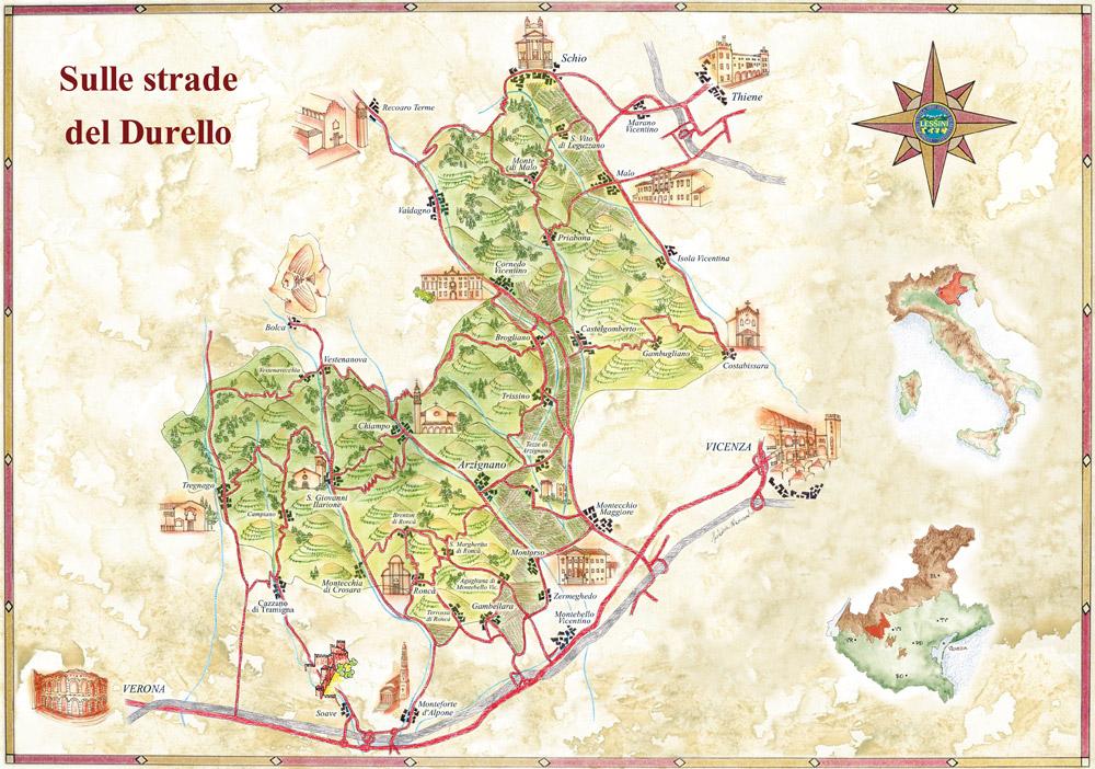 """Mappa """"artistica"""" delle Strade del Durello - fonte:  Consorzio Lessini Durello"""