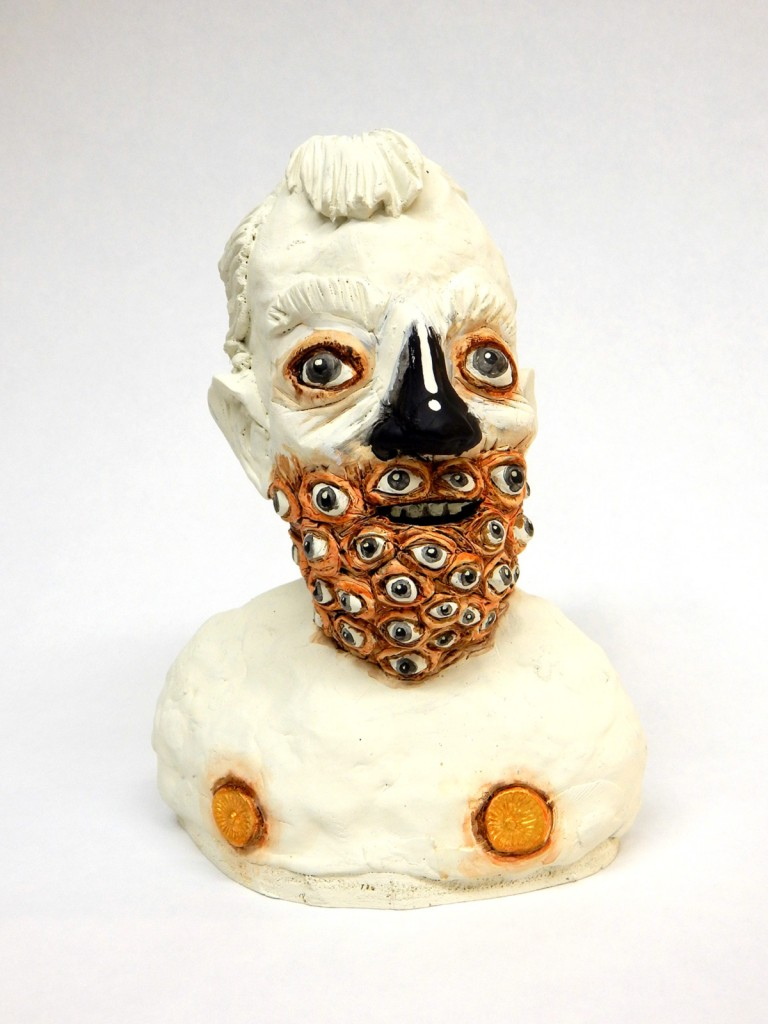 "See Beard  10"" x 7"" x 4.5"", mixed media on epoxy clay, 2016"