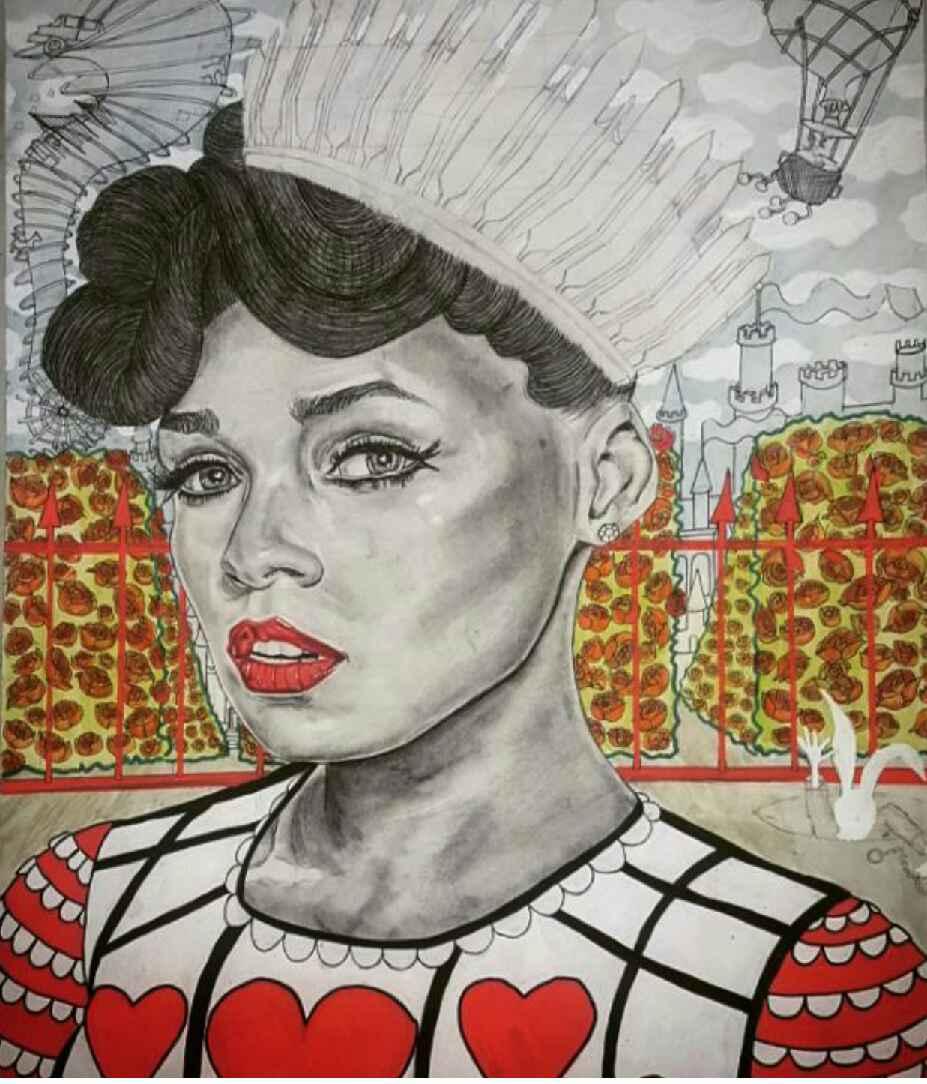 "Queen of Heart Janelle Monae  25""x 20"", mixed media,2016"