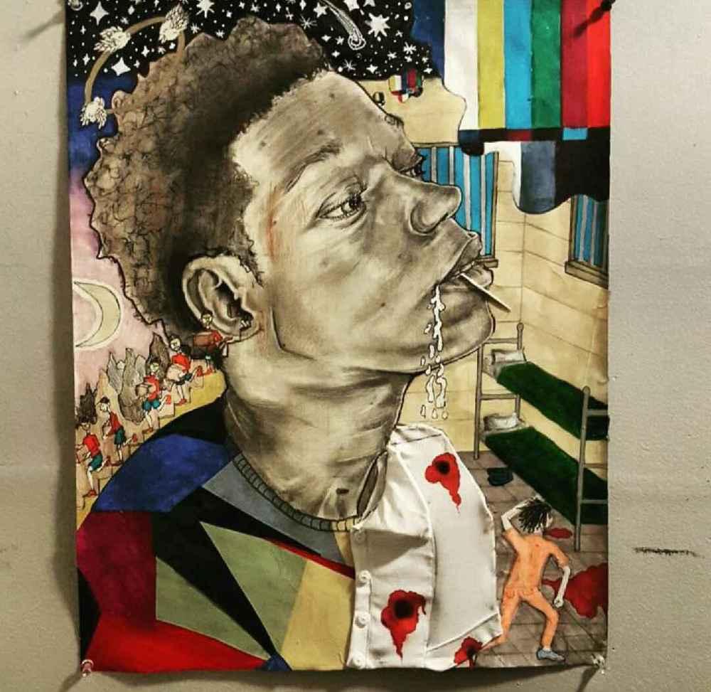 "Ricos Modern Life  25""x 20"", mixed media,2015"