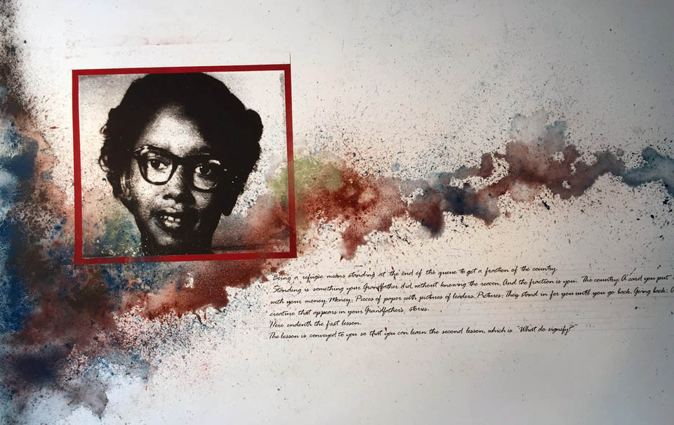 "Passenger , (Claudette Colvin) w/Text by Ashraf Fayadh,  The Last Line of Refugee Descendants  40"" x 60"", silkscreen and dry pigment on paper, 2016"