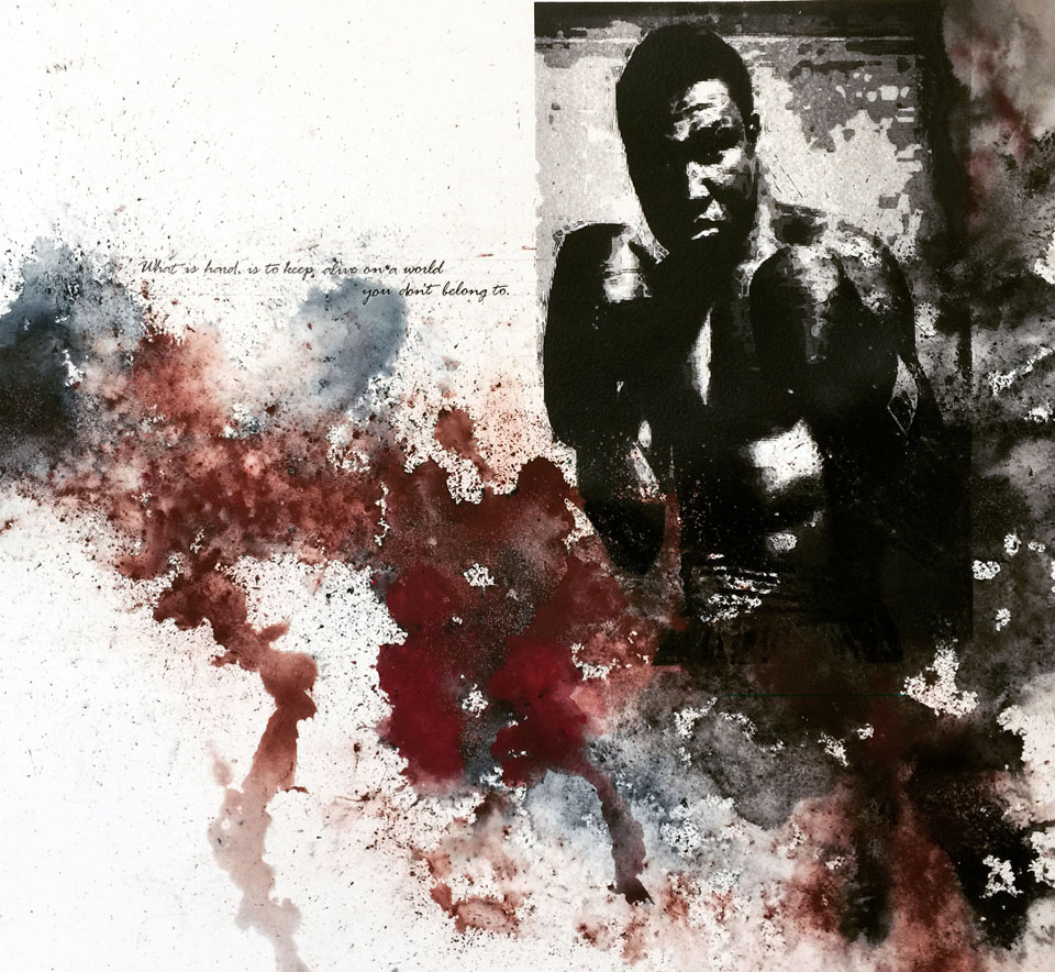 """The Pugilist,  (Emile Griffith) w/ Text by Ursula K. Le Guin  Planet of Exile  40"""" x 60"""", silkscreen and dry pigment on paper, 2016"""
