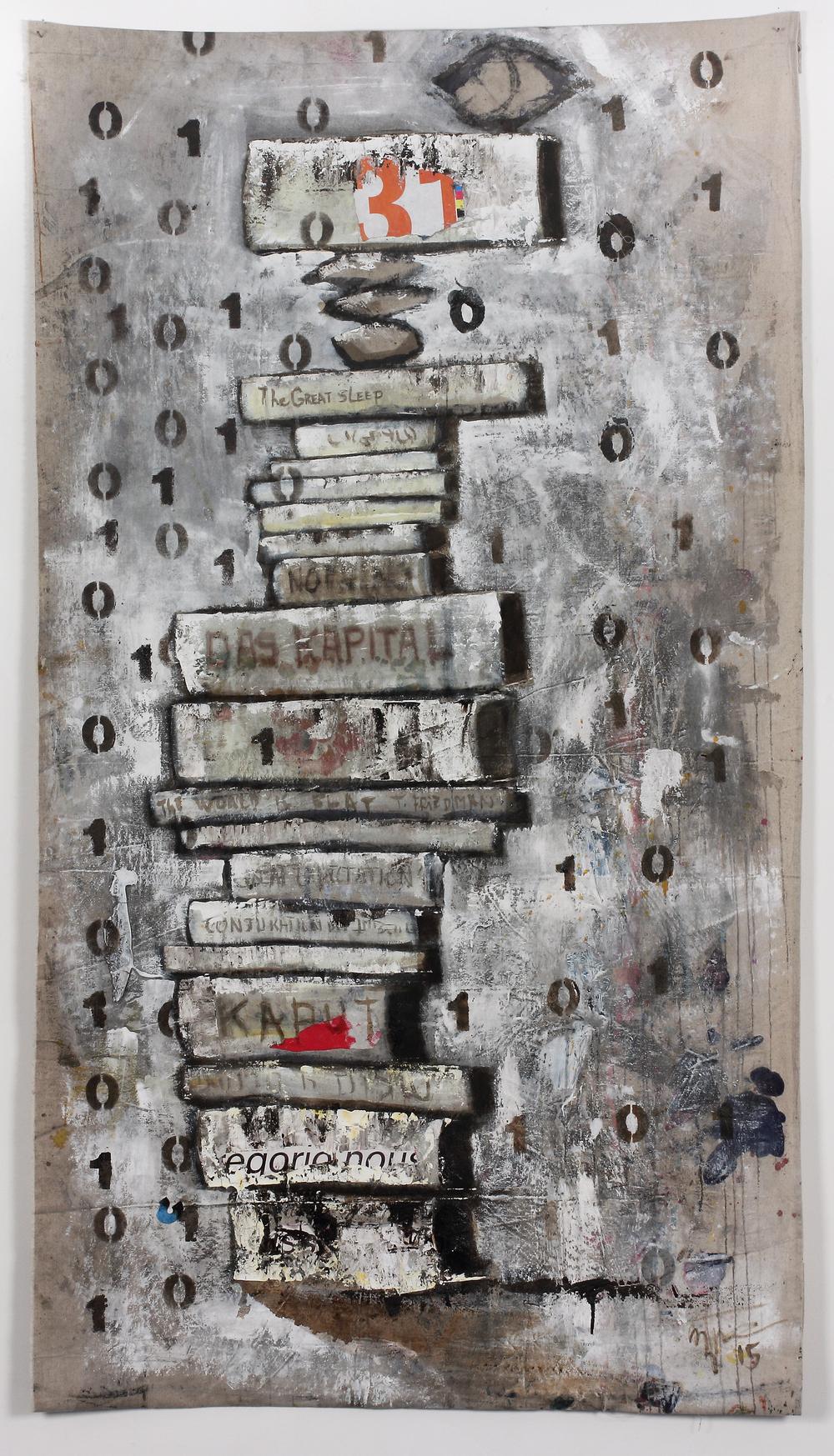 "Binary  72""x 38"",mixed media on linen Kagemono (Banner), 2015"