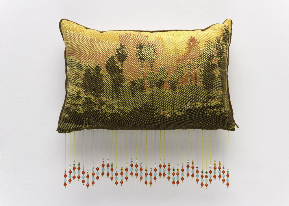 "piLLow  18"" x 23"" x 2"", Jacquard woven cloth, fabric, yarns, beads, and hoodie pull cord, 2015"