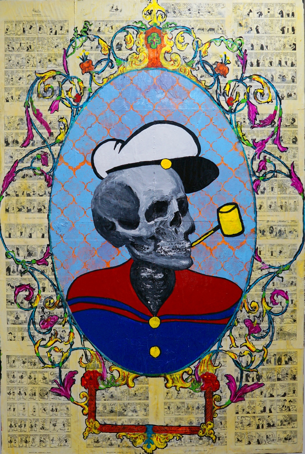 "Popeye Death  60"" x 30"", oil on vintage cartoon collage,2016"