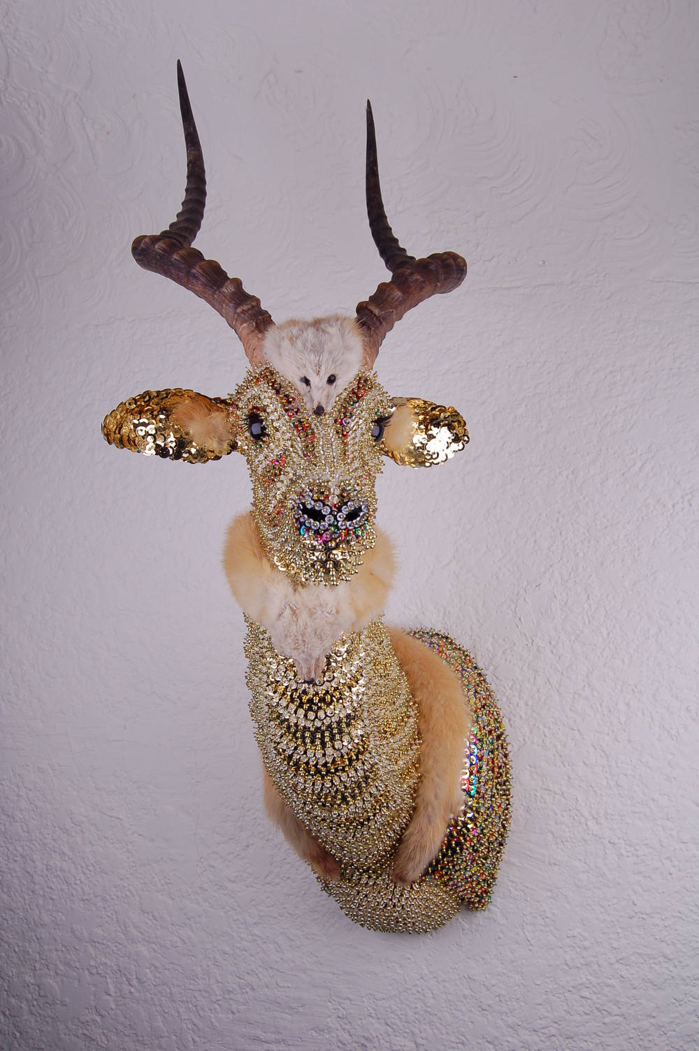 Impala  polyurethane foam, antlers, sequins, mink, beads, and pins, 2016