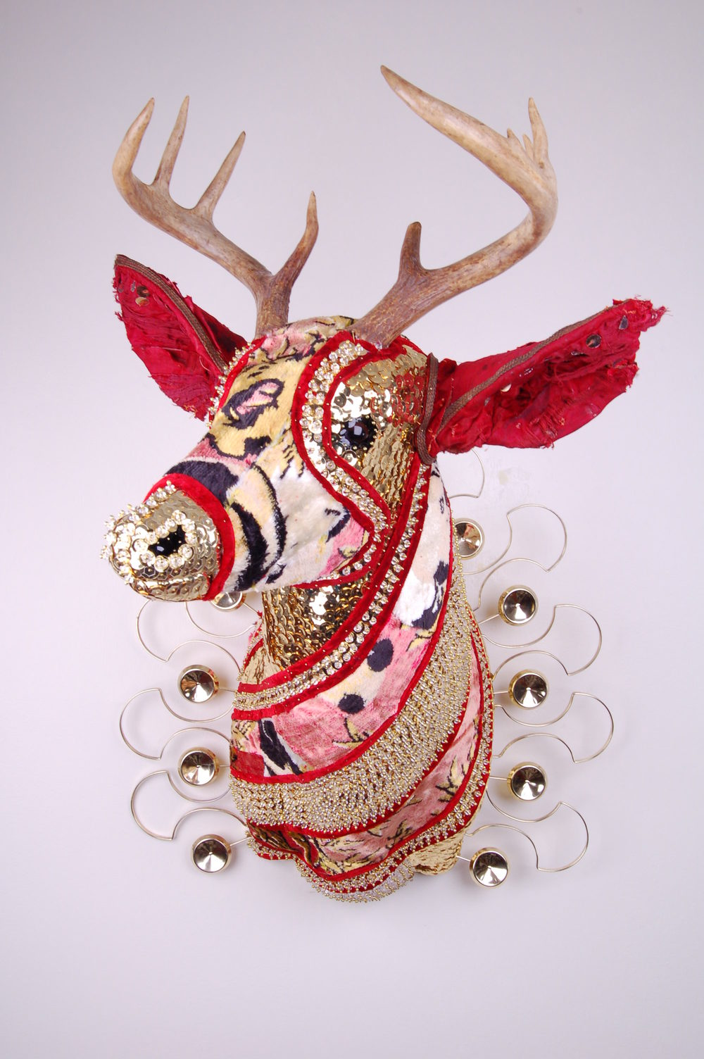 Prayer  polyurethane foam, antlers, glass, sequins, beads, pins and minks, 2016