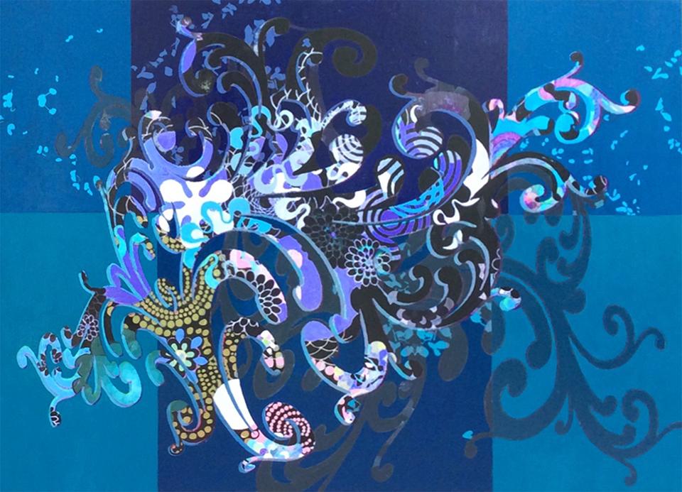 "Floating Arabesque  36"" x 48"", acrylic paint, acrylic pigment transfer on panel, 2016"