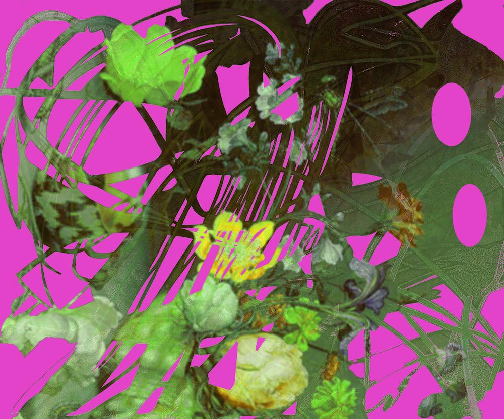 "Toxic Still Life (After Balthazar Van Der Ast)  16"" x 20"", paper collage on digital print on Arches Aquarelle,2016"