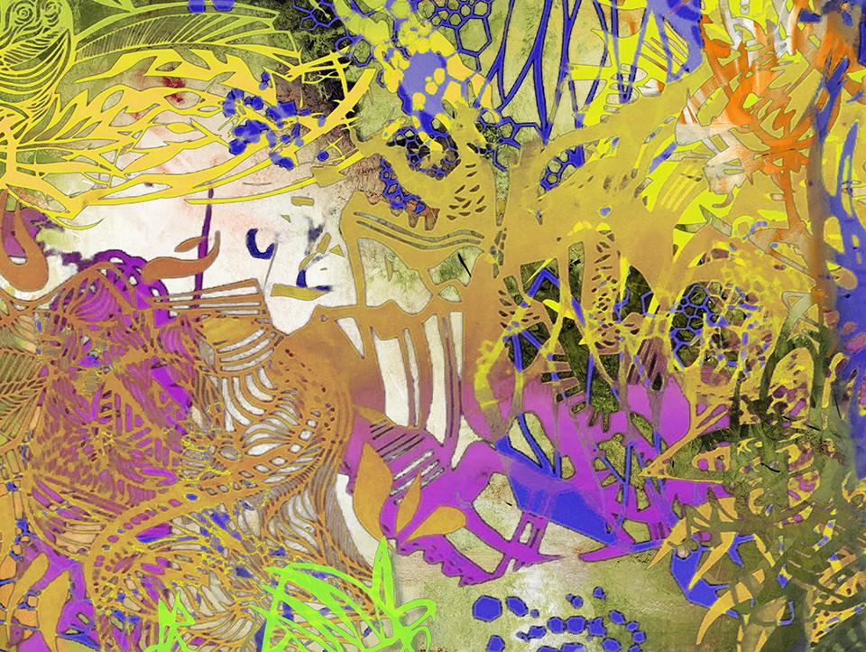 "Garden of Good  36"" x 48"", acrylic paint, acrylic pigment transfer on panel,2016"