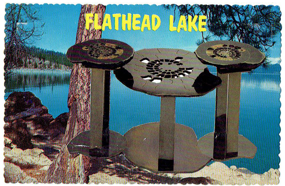 "My tables are almost as rare as the material itself (Flathead Lake and Fossil Table)  (detail) full piece 25"" x 30"", collage on vintage postcard, 1978/2015"
