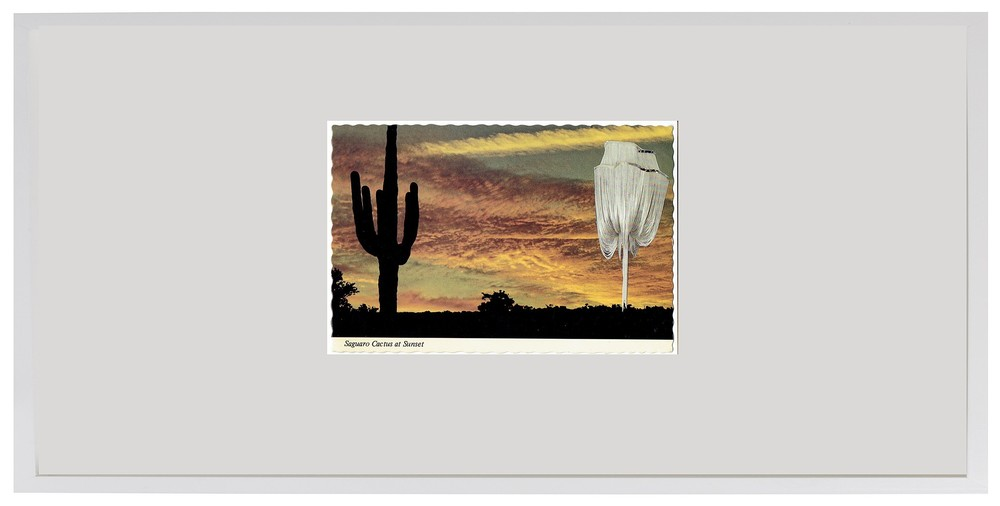 "Saguaro Cactus and Chandelier  30"" x 15"", collage on vintage postcard, 1978/2015"