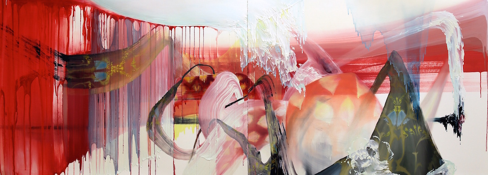 "Seeping of a Ghost  (diptych) 22"" x 60"", oil on paper, 2015"
