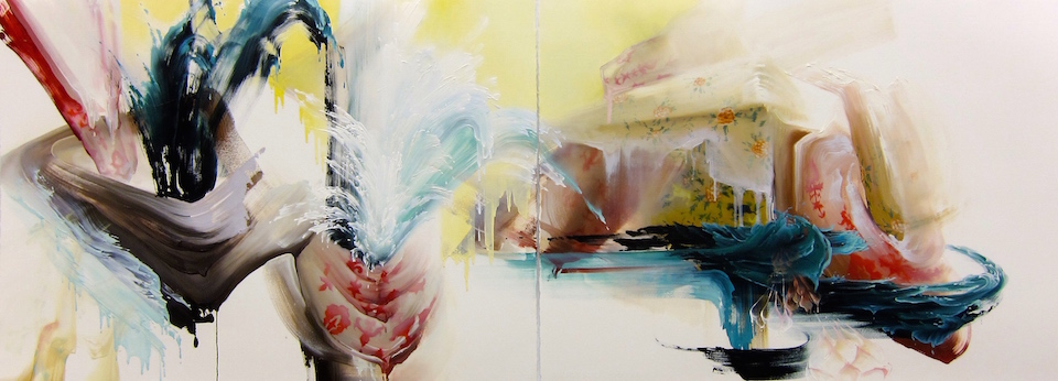 "The Eruption  (diptych) 22"" x 60"", oil on paper, 2015"