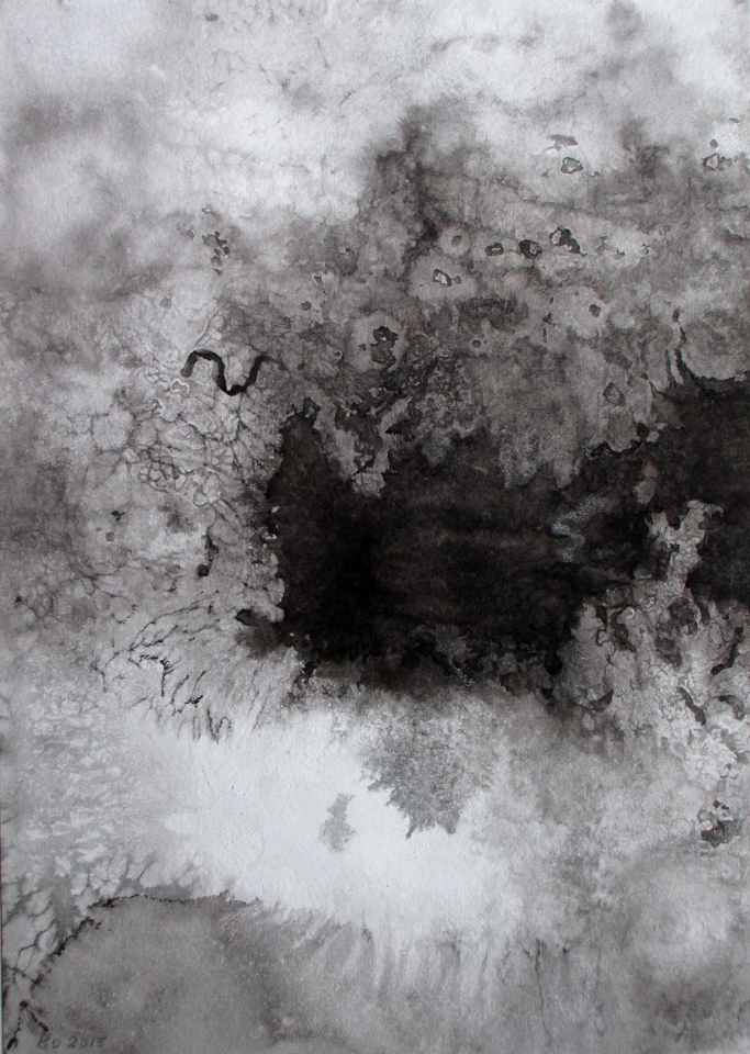 """Beyond Snow 1  14.5"""" x 10.25"""", ink and salt on watercolor paper,2015"""