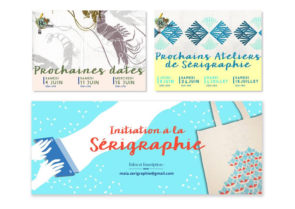 Communication - Identité visuelle, réseaux sociauxCommunication évènements sur FacebookCréation de flyers Création des motifs et choix des couleurs