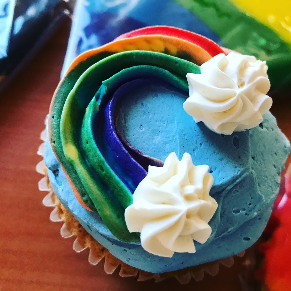 Raspberry Rainbow Cupcakes