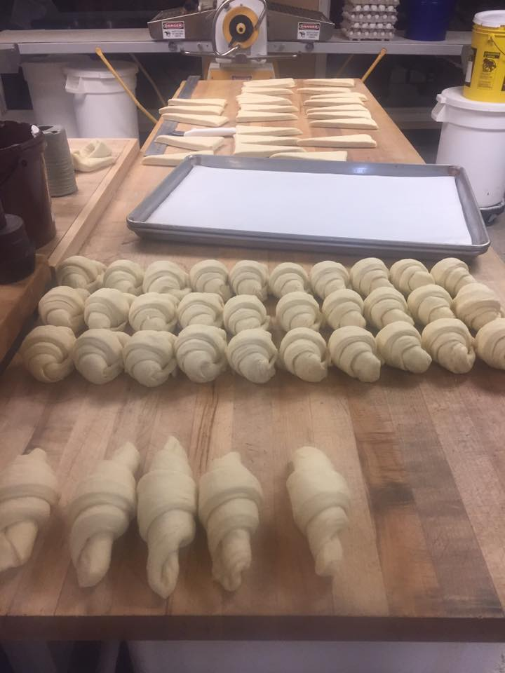 Croissants awaiting their destiny in the oven