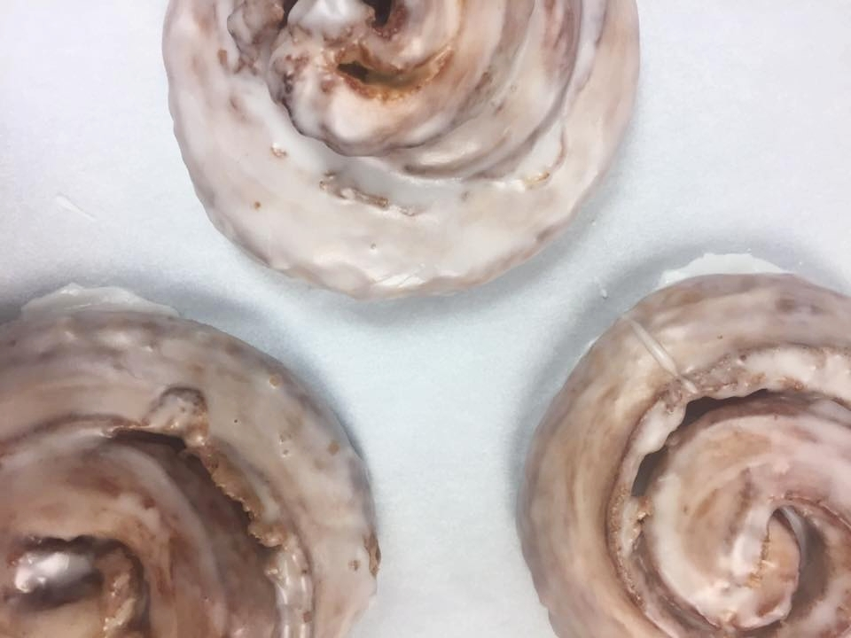 Freshly glazed cinnamon rolls