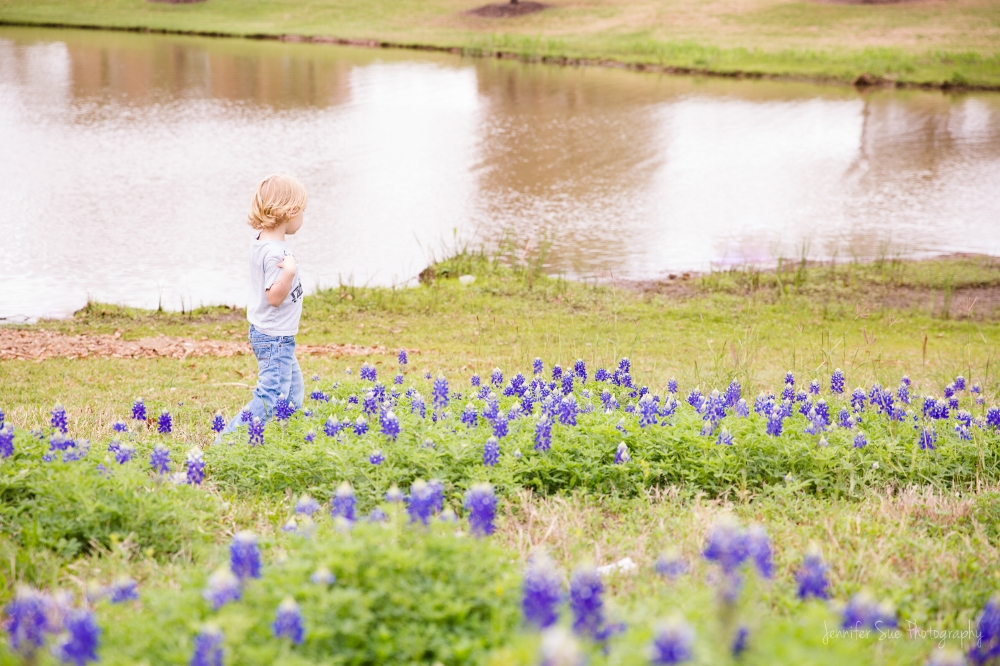 Little Noah Wayne helping me scout the Bluebonnets in 2017. They were just starting to bloom!
