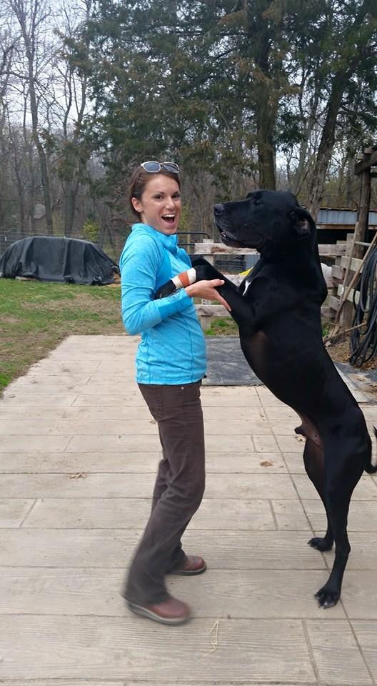 Dr. Waldron with a farm dog