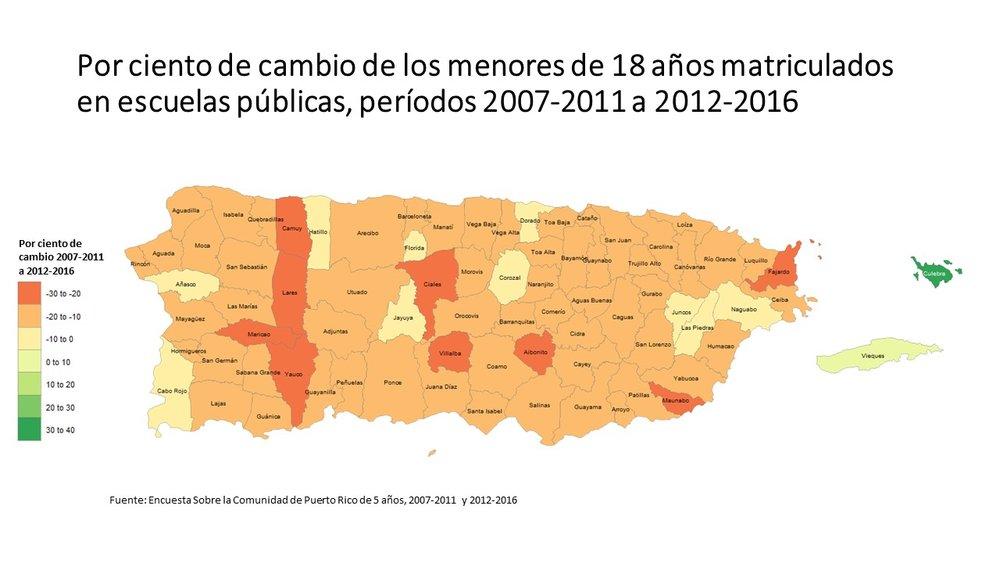 En la mayoría de los municipios la reducción de estudiantes menores de 18 años matriculados en escuelas públicas disminuyo más del 10%.