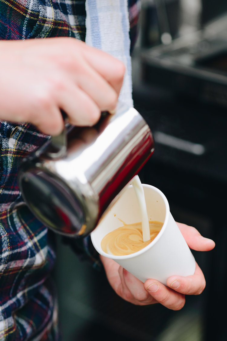 Coffee is poured by Luke from Dialingin, Nottingham's smallest coffee shop.