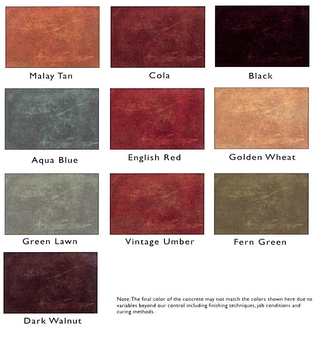 Sure Seal Acid Stains Color Chart