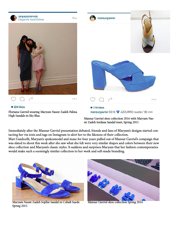 Maryam Nassir Zadeh Press Release in response to WWD's report of copycat shoe designers, Mansur Gavriel.