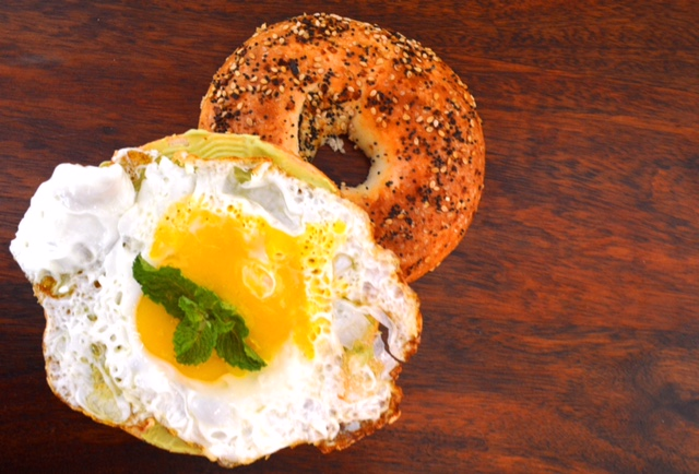 Egg and Bagel Sandwich with Mint Avocado Spread