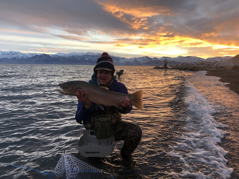 Brogan Jayne from Denver CO with a sunrise fish on the streamer.                                     PC: Capt Rob