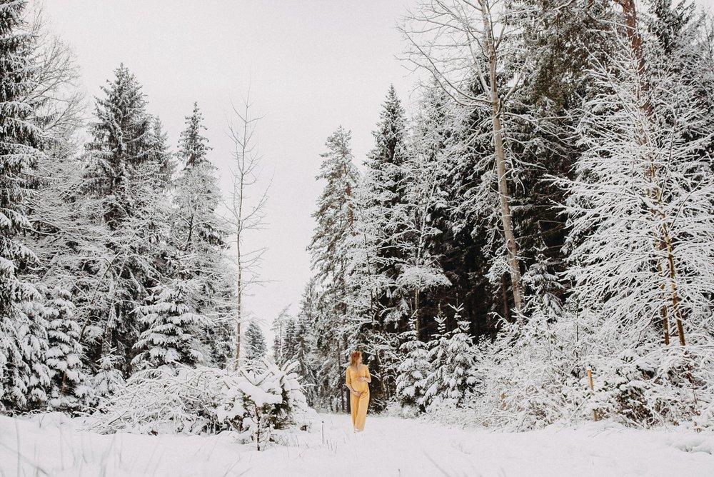 portrét v zimní krajině