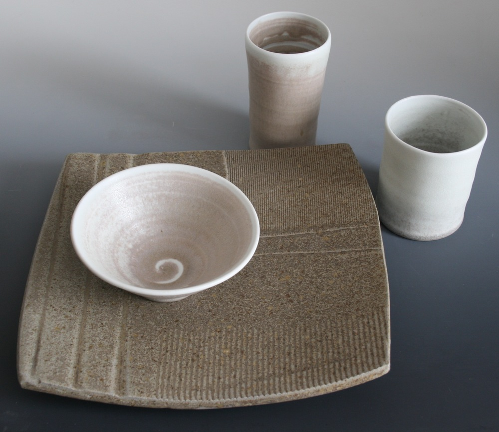 The Stone and Sky series features a one of a kind textured stoneware plate paired with wheel thrown porcelain cups and bowls. & Stone and Sky/Square u2014 Kate Inskeep Tableware