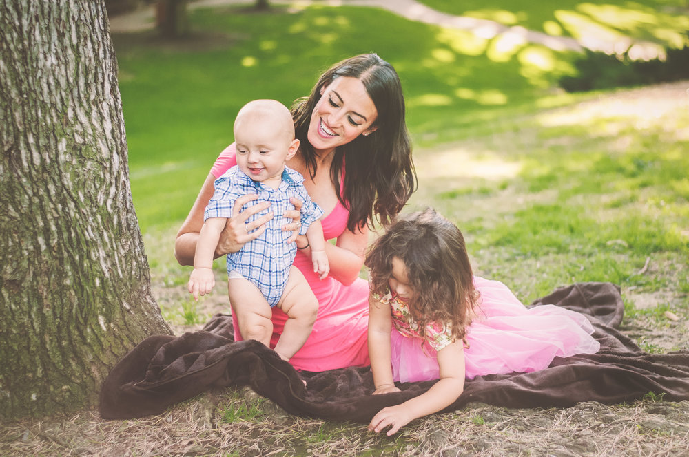 MOMMY BLOGGER WITH TODDLER GIRL AND BABY BOY IN PARK