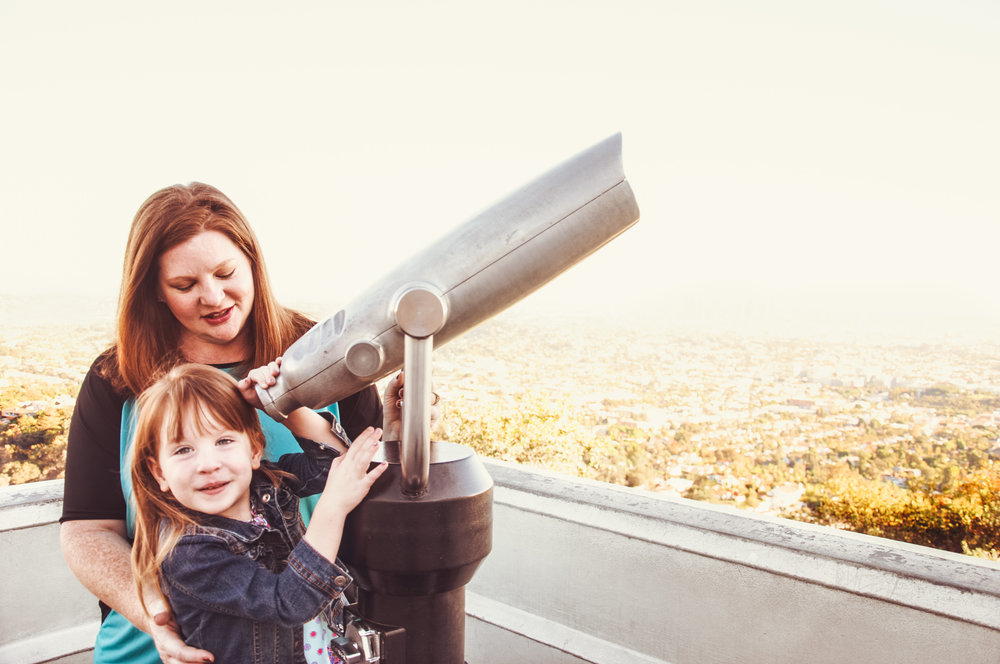 hollywood mom and daughter in observatory in los angeles