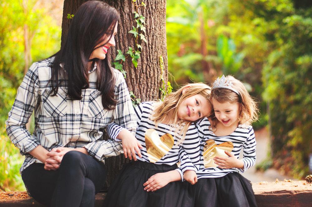 celebrity mom erin ziering and little girls in backyard