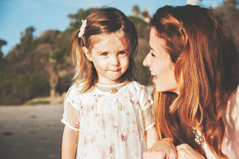 disney princess and mom on laguna beach with little girl  with lifestyle Velvet Violet Photography