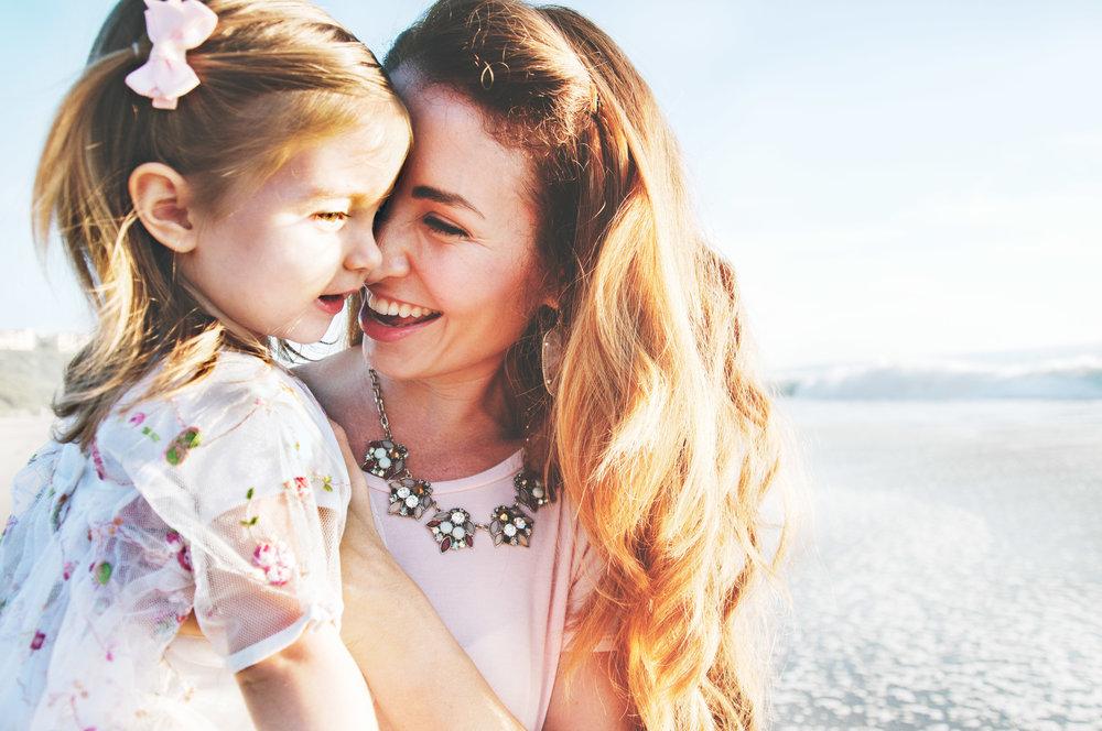 headshotof mommy and little girl by the ocean laguna hills velvet violet photography