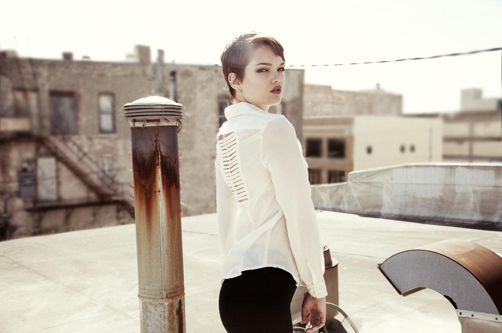 Model Posing Urban photo session short hair girl