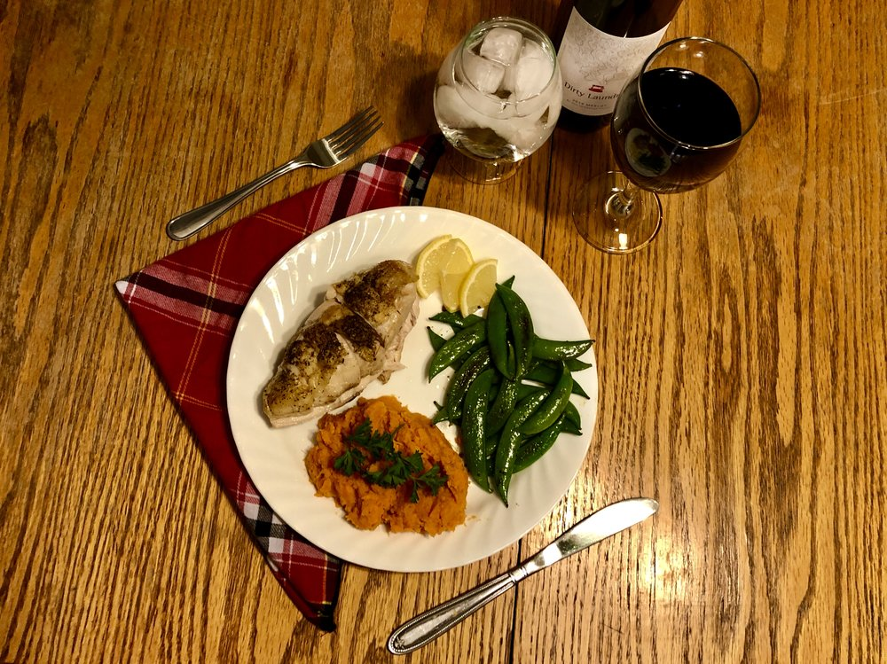 Chicken Breast with Sweet Potato Mash and fried Sugar Snap Peas. One of the best meals I've made, ever.