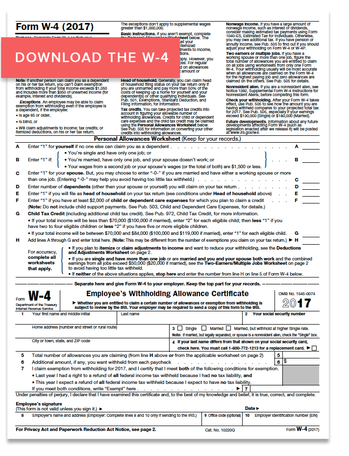Click here to download the 2017 Form W-4.