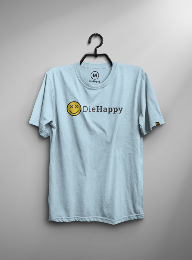 Die Happy-TShirt Mockup-LightBlue-Fill-Horizontal-Different Weights_v3
