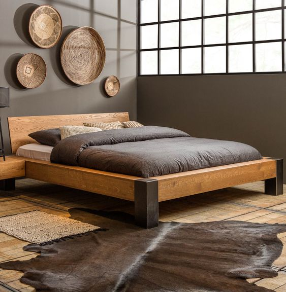 low profile wood bed frame