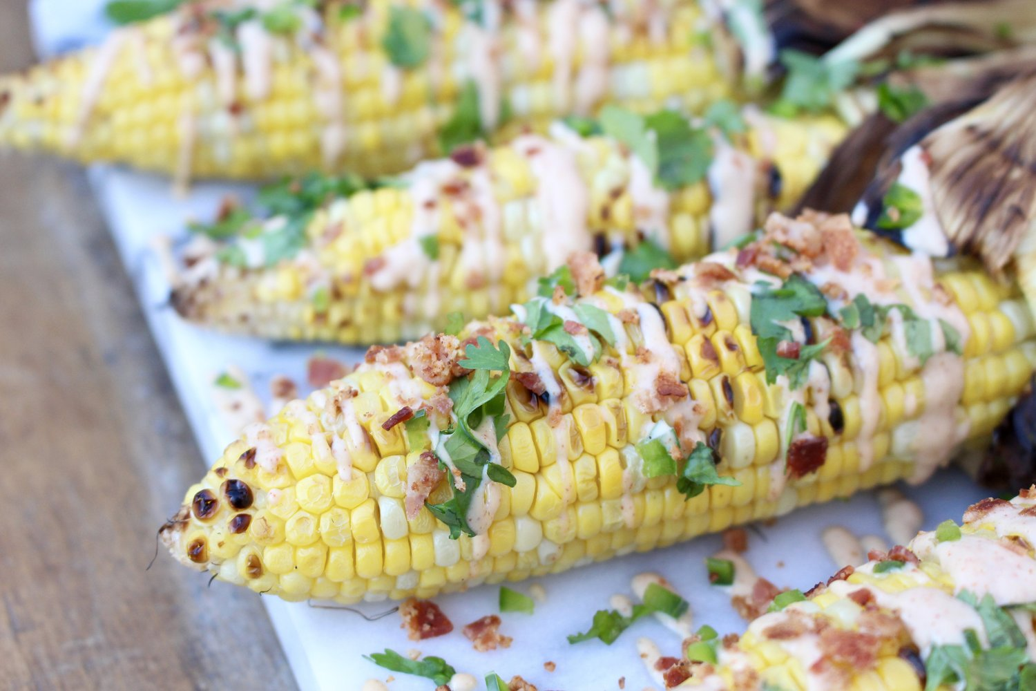 Grilled Chipotle Corn with Fresh Cilantro and Bacon